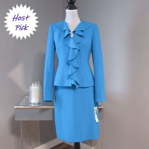 NEW Albert Nipon Turquoise Blue Skirt Blazer Suit